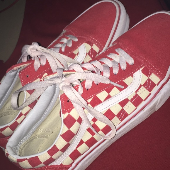 Vans Shoes Red And White Checkered Old Skool Poshmark